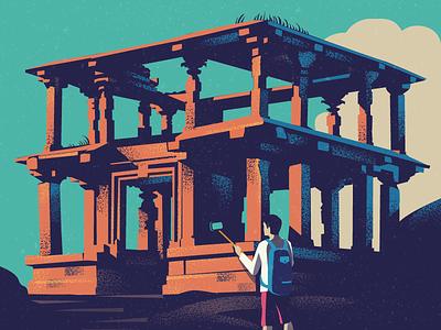 Paradox historic vintage retro sunrise hemakuta selfie hampi india ruins
