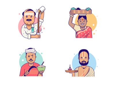 Characters - Exploration bangalore illustration flat temple holy coconut vegetable seller tea characters india