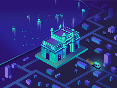 Gateway of India - Game bombay mumbai sea rickshaw gradient color neon app game heritage india gateway