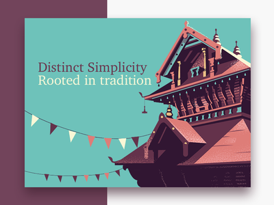 Distinct simplicity experience web card illustration geometric kerala coast india temple roof tradition simplicity