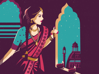 Vantage Point illustration contrast viewpoint jewels saree style traditional india lights diwali