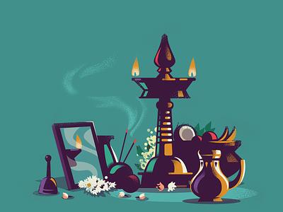 Diversity kerala newyear celebration incense mirror lamp south india india vishu