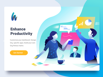 Get More done energy illustration apps tasks enterprise office studio app no coding productivity