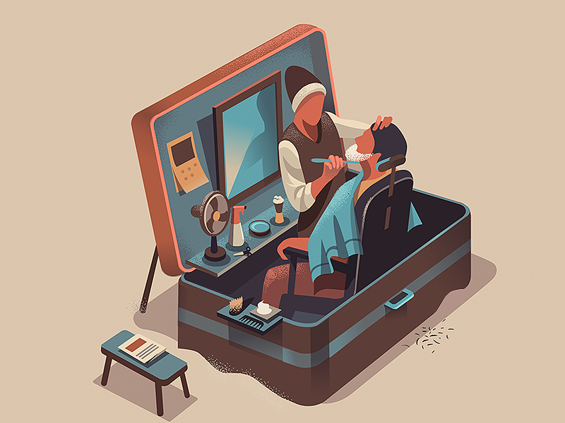 Box of Style barber mirror north illustration box streets india hair style hair style isometric