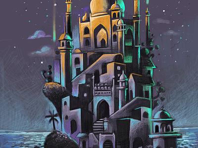 upcoming project sneak dreamy night mugal beach fantasy procreate pro ipad texture illustration sneak