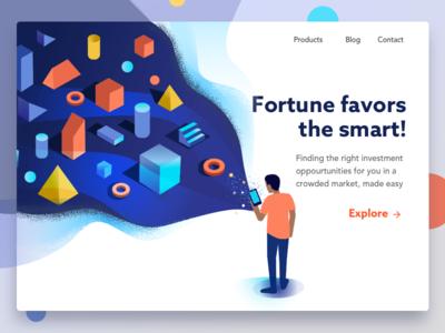 Smart option searching isometric illustration cubes fortune shapes basic shapes product idea exploration