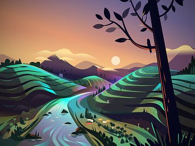 Tea Meadows - WIP wip india twilight landscape illustration shots glimpses road road trip kerala meadows tea estate