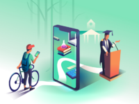 Dribbble graduation illustration