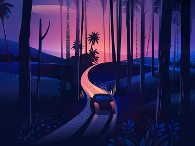 Road Trip - winding roads south india hills texture illustration trees twilight forest india kerala road road trip drive