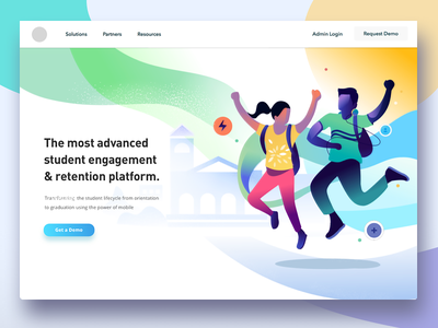 Student engagement - unused Exploration web product design illustration energy jumping joyful school engagement retention platform student