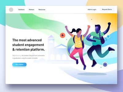 Student engagement - unused Exploration web product design illustration energy jumping joyful school engagement retention platform student