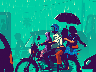 commute contrast colorful people traffic light traffic rainbow illustration space sharing rain family signal commute