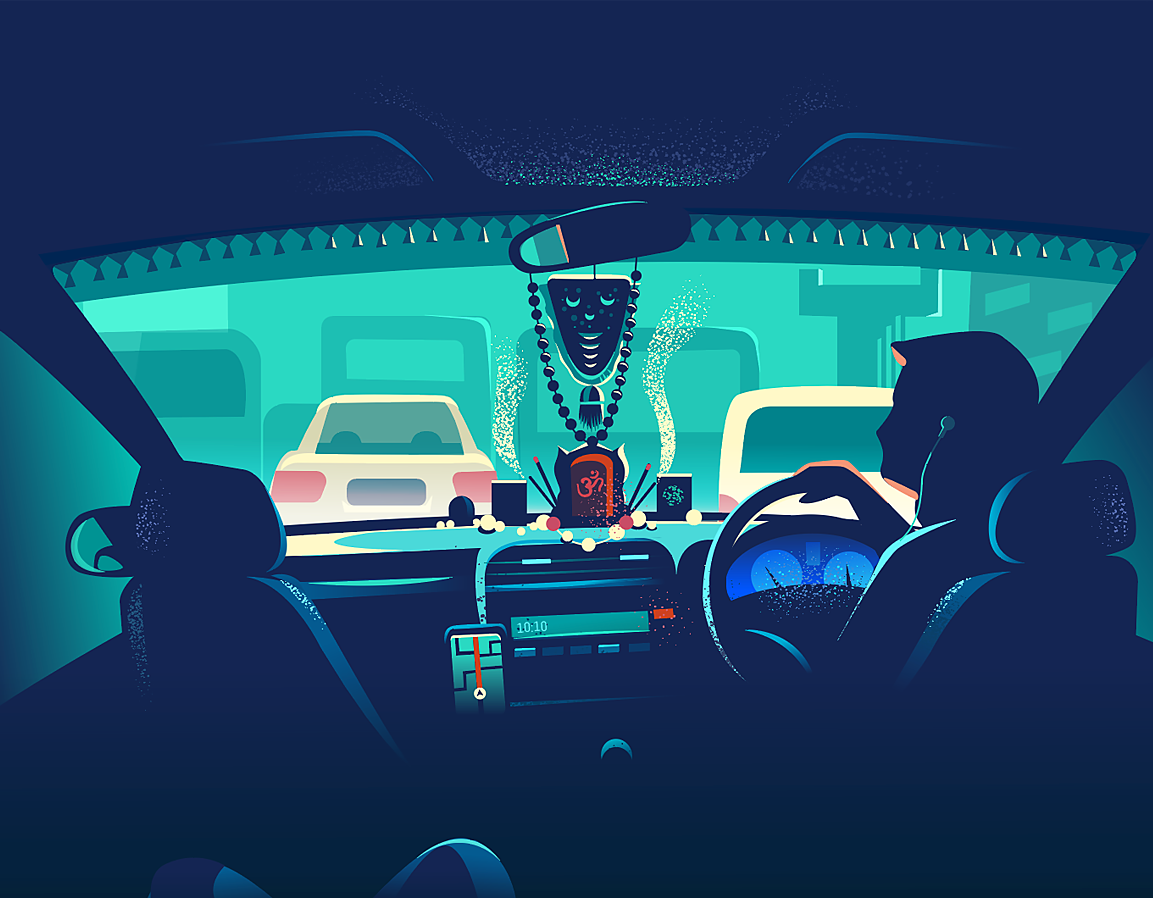 Dribbble taxi cab ride