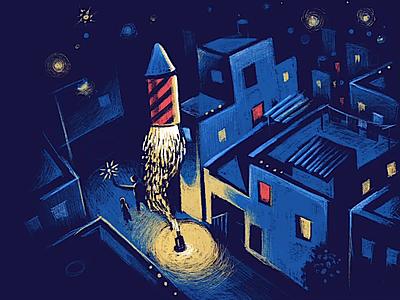 Memories ipad pro pro create diwali animation colorful neon night fire isometric composition childhood memories light rocket