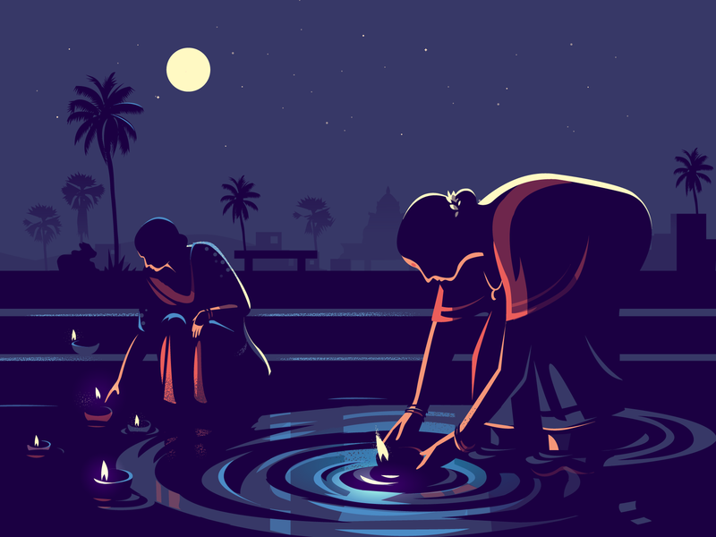 Moonlight night pond lighting story india diya moonlight vector illustration