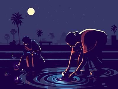 Moonlight night pond lighting story india diya moonlight vector illustration