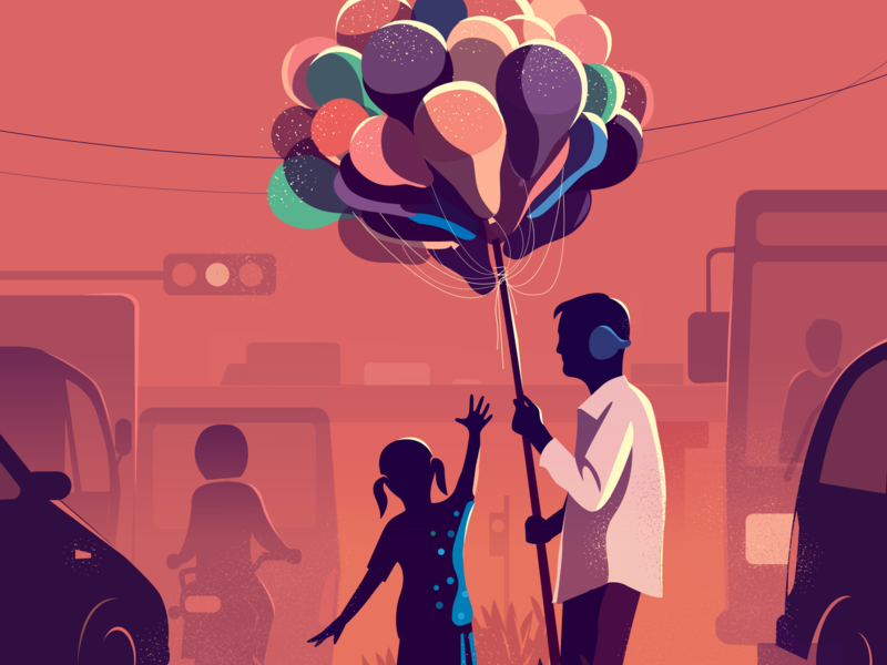 In the Middle light colorful illustration observation india middle gazing girl balloons signal traffic