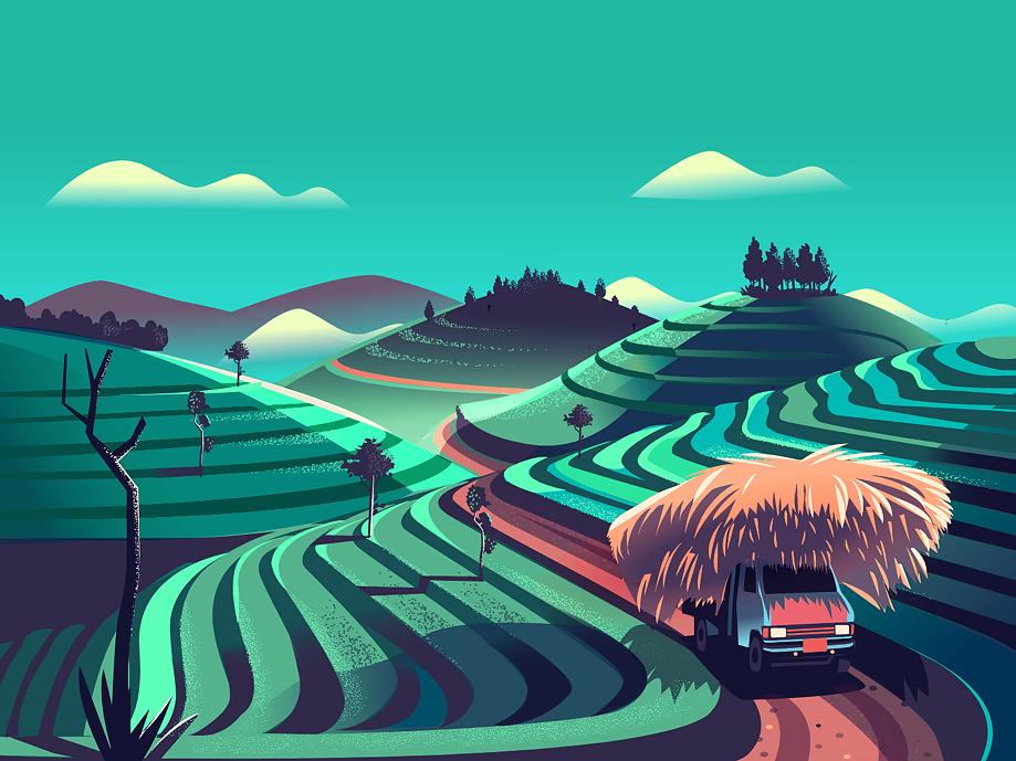 Exploration transport texture illustration vector stories road trip green rockstar truck hay tea garden india series project