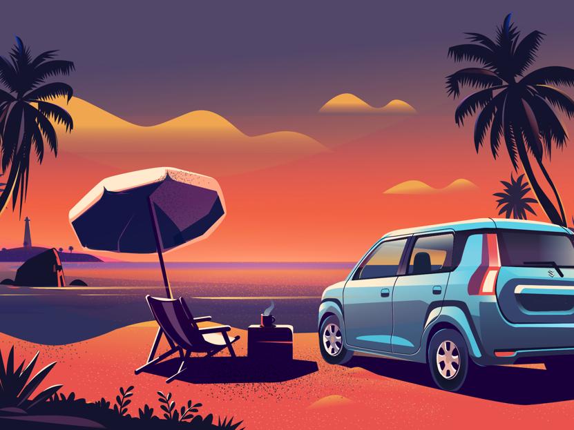India Stories - Goa warm suzuki lighthouse india sun colorful wagon beach automobile roadtrip