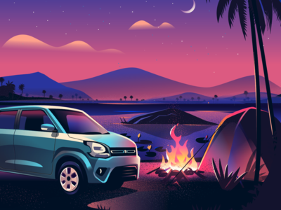 Campfire by the lake vector colorful night lake india art direction automobile product illustration commission campfire