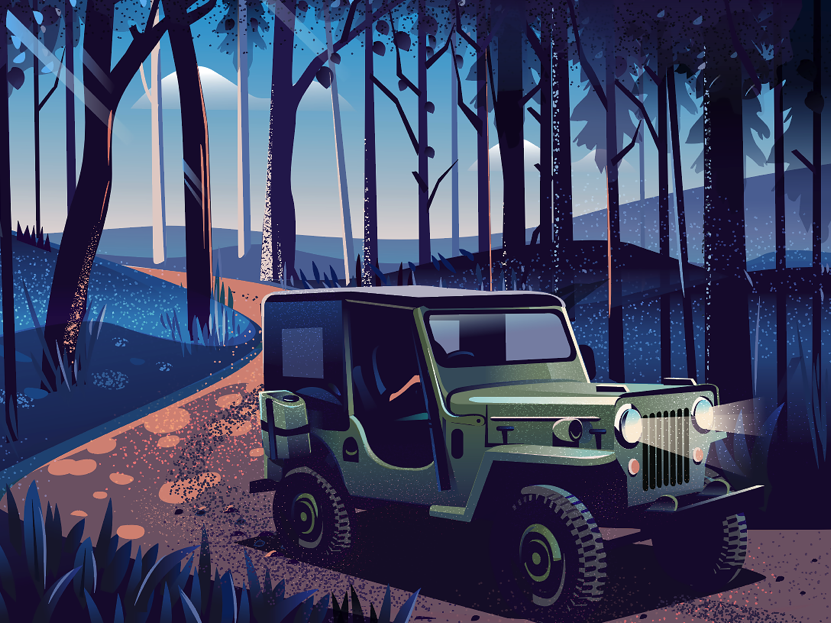Intro The Wild automobile road unpaved roadtrip light texture book illustration canopy jeep drive forest wild