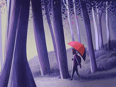 Solitary walk procreate app ipad pro island andamans india contrast trees forest woods walk