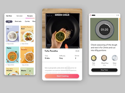 Recipes mobile ingredients product design ux-ui interaction health app healthy recipes