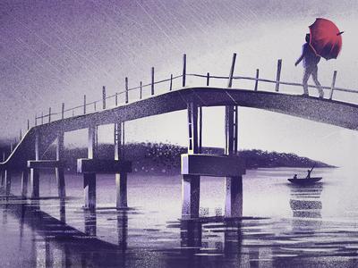 Solitary walk blur procreate app ipadpro texture rain water backwaters bridge walk solitary