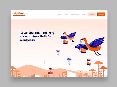 MailPoet - Web experience product illustration illustraiton email birds web animation wordpress mail mailpoet