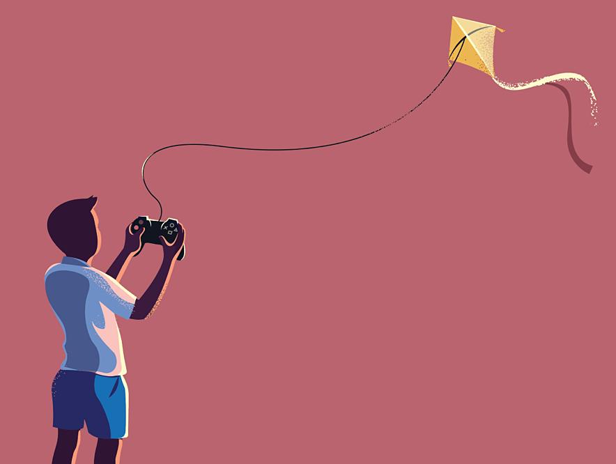 Dribbble flying kite detail