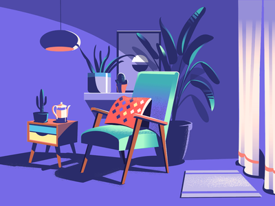 Reading Corner wip illustration relax chair furniture retro plants curtains lighting reading home interiors