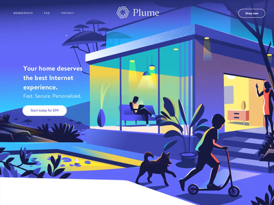 Smart homes with Plume animation web garden outdoor playful connected modern home home iot smart home