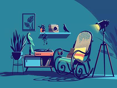 Music Corner vinyl record gramophone plants interior home radio lights indoor easy chair blues rock jazz music