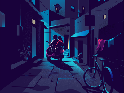 Light at the end atmosphere illustration shadow light lighting contrast bicycle india bike narrow lane bangalore
