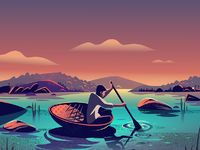 Dribbble coracle boat ride detail