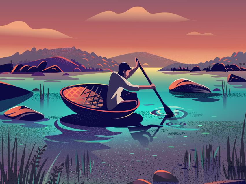 Enigmatic Town illustration stories ride riverboat karnataka hampi ruins india river flow