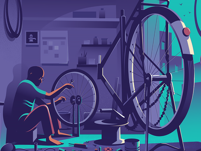 Mending the wheel story illustration wide angle bangalore india ride parts repair fixing bicycle wheel mending