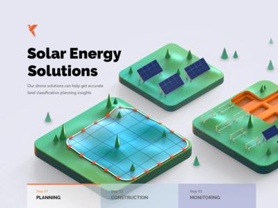 Solar Energy Solutions saas app website uiux lighting 3d art 3d monitor insights phases construction planning wind renewable energy energy solar