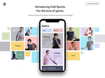 Cult Gear athlesiure parallax mobile uxui webdesign motion animation webpage accessories sports sportswear cult curefit