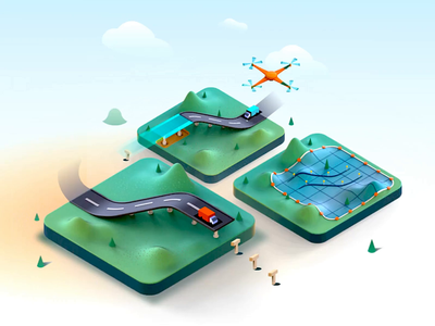 Planning Roadways saas web experience 3d animation 3d model 3d rail enterpise drone data landing page web application data visulization drone process highways planning road