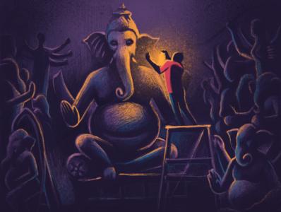 Big Day procreateapp ipad pro festival bangalore india wip idols ganesha ganesh temporary studio