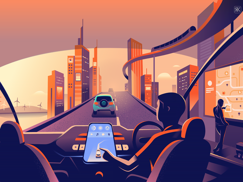 Smart city illustration tech city automobile transport future technology smart city