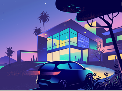 Driveway mood exploration home lights colourful gradient dynamic driveway texture twilight lifestyle health vector illustration hero web