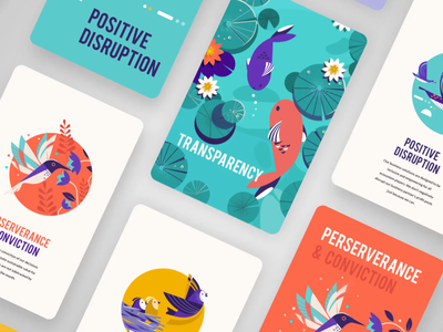 Core Values and Brand elements story illustration india metaphor office birds plants colorful scalabiity openess conviction passion impact nature transparency learning collobration simplicity values