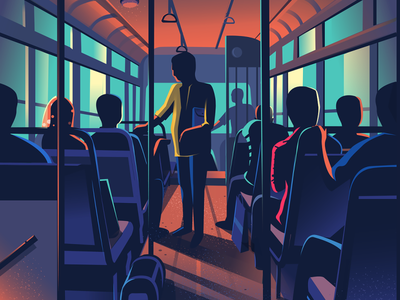 Bus ride light contrast people colourful conductor illustration bus vector india bangalore transport local bus ride