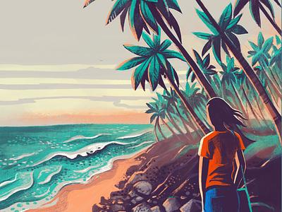 Vantage point textures coast draw sketch procreate ipadpro vantage point sand surf palm trees beach morning sun