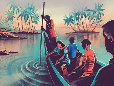 Morning Ride misty grove landscape scenic backwaters procreate ipad pro textures morning india karnataka coast boat ride