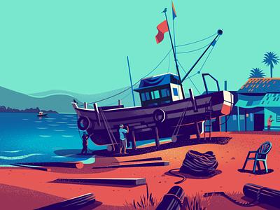 Ship yard - Goa cralwers ship illustration backwaters beach goa india fishing boat repairs shipyard
