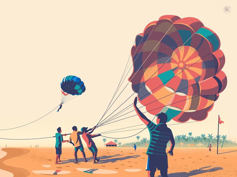 Take Flight vector illustration parachute sand parasailing sport trip india goa perspective beach
