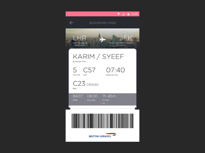 Flight App concept airline airport flat ui material design cards android mobile barcode ticket flight boarding pass